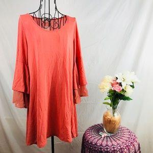 Umgee Blush Bell sleeve swing tunic dress NWT